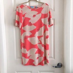 tori Richard coral shift dress with fan print